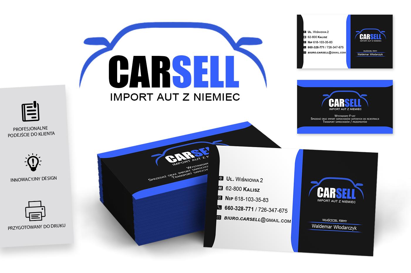 Grafika komputerowa Geek Imagination - Wizytówka firmowa importu aut z Niemiec Carsell