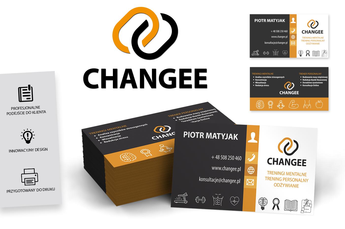 Portfolio - Grafika komputerowa Geek Imagination - Wizytówka firmowa trenera personalnego Changee